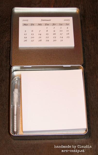 Minikalender in Schokodose innen