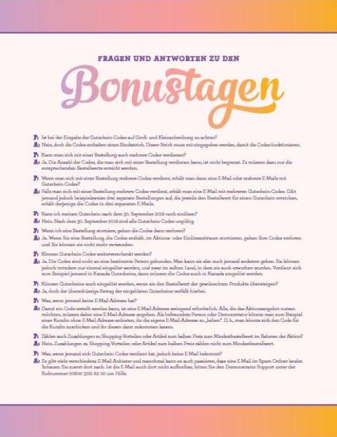 FAQ Bonustage