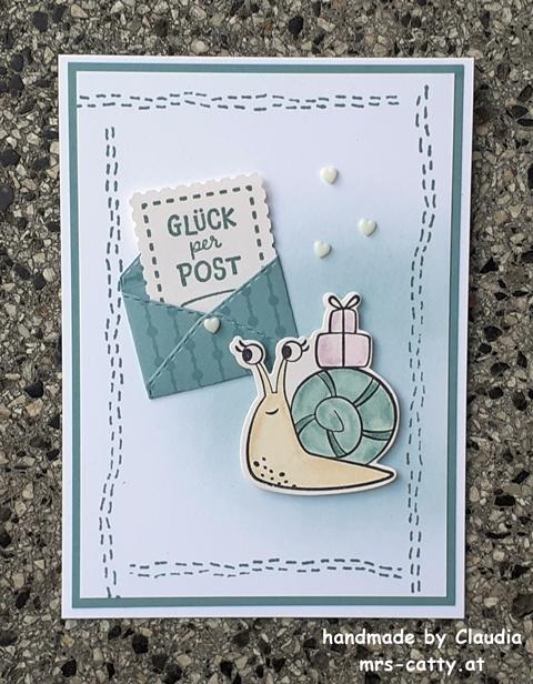 Karte, Geburtstag, Schneckenpost, Stitchery, Stampin`Up!