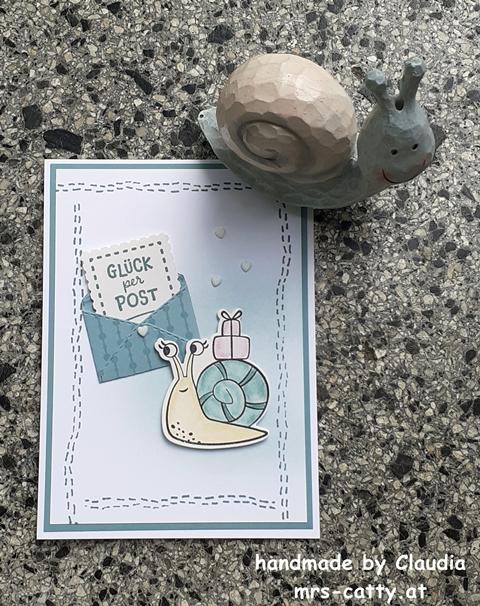 Karte, Geburtstag, Schneckenpost, Stitchery, Stampin`Up! 2